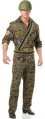 Seal Team Six Military Army Camo Jumpsuit Fancy Dress Halloween Adult - Adult Green Army Man Costume
