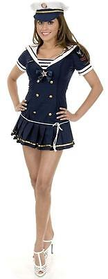 Navy Brat Sailor Girl Pin Up Fancy Dress Halloween Sexy Adult Costume 2 COLORS - Navy Pin Up Girl Costume