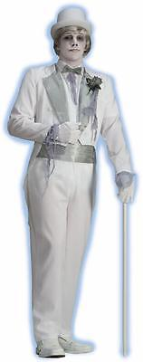 Victorian Ghost Groom Dead Spirit Scary Fancy Dress Up Halloween Adult - Ghostly Groom Halloween Costume