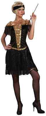 Glamorous Womens Halloween Costumes (Golden Glamorous Flapper Roaring 20's Black Fancy Dress Halloween Adult)