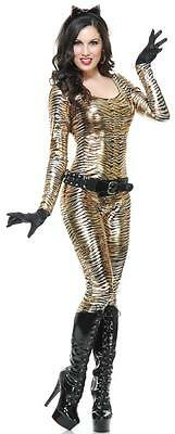 Metallic Tigress Tiger Wild Cat Animal Fancy Dress Halloween Sexy Adult Costume