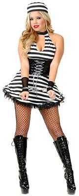 Miss Detained Convict Prisoner Girl Fancy Dress Up Halloween Sexy Adult Costume - Girl Prisoner Costume