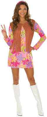 Sunshine Hippie Girl 60's Retro Groovy Fancy Dress Up Halloween Adult Costume - Sunshine Halloween Costume