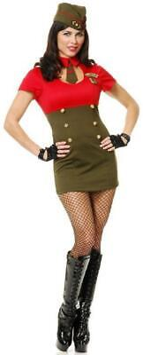 Army Babe Costume (WWII Army Babe 40's Retro Pin Up Military Fancy Dress Halloween Adult)