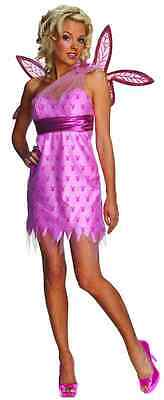 Sexy Fairy Pixie Pink Playboy Bunny Fancy Dress Halloween Adult Costume w/Wings