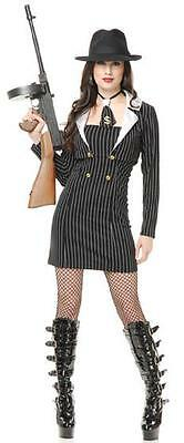 Miss Mob Boss Gangster Mafia Girl Fancy Dress Up Halloween Sexy Adult - Sexy Mafia Girl Kostüm