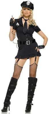 Dirty Adult Halloween Costumes (Dirty Cop Police Officer Black Uniform Fancy Dress Halloween Sexy Adult)