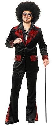 Whiskey River Mac Daddy Pimp Suit Black Red Fancy Dress Halloween Adult Costume