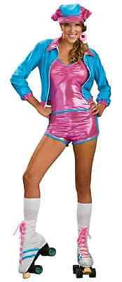 Roller Skate Girl Derby 70's Disco Pink Fancy Dress Halloween Sexy Adult Costume