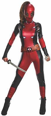 Deadpool Girl Marvel Comics Superhero Fancy Dress Halloween Sexy Adult Costume