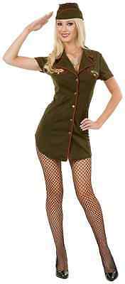 Army Babe Costume (Army Babe Military Brat Green Fancy Dress Up Halloween Sexy Teen Adult)