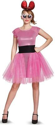 Blossom Powerpuff Girls Cartoon Fancy Dress Up Halloween Deluxe Adult Costume