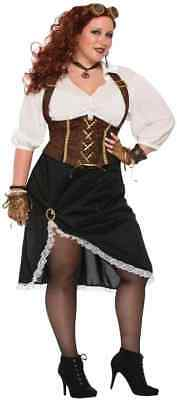 Ladies Halloween Fancy Dress Plus Sizes (Steampunk Lady Victorian Pirate Fancy Dress Up Halloween Plus Size Adult)