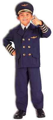 Airline Pilot Airplane Plane Blue Captain Fancy Dress Up Halloween Child Costume