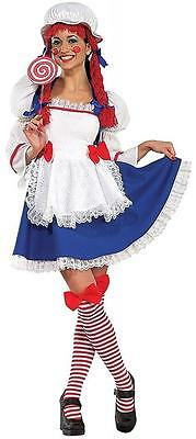 Rag Doll Girl Raggedy Ann Fancy Dress Up Halloween Sexy Deluxe Adult Costume - Girl Doll Halloween Costumes