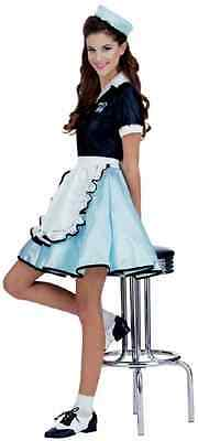Car Hop Girl 50's Diner Retro Watiress Fancy Dress Up Halloween Adult Costume - Car Hop Girl Halloween Costume