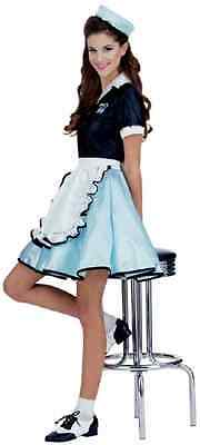 50's Diner Girl Halloween Kostüm (Car Hop Girl 50's Diner Retro Watiress Fancy Dress Up Halloween Adult Costume)