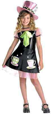Mad Hatter Girl Black Pink Alice Wonderland Fancy - Childs Mad Hatter Kostüme