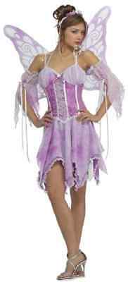 Butterfly Fairy Pixie Purple Fancy Dress Halloween Sexy Adult Costume w/Wings