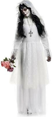 Halloween White Ghost Costume (Nightshade Bride White Ghost Day Dead Dia Muertos Fancy Dress Halloween)