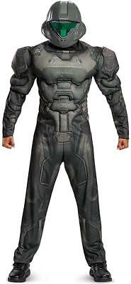 Spartan Soldier Costume (Spartan Buck Muscle Halo Military Soldier Fancy Dress Halloween Adult)