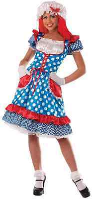 Rag Doll Lady Raggedy Ann Fairy Tale Girl Fancy Dress Up Halloween Adult Costume