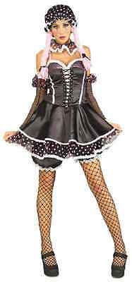 Rag Doll Girl Baby Gothic Black Pink Fancy Dress Up Halloween Sexy Adult Costume