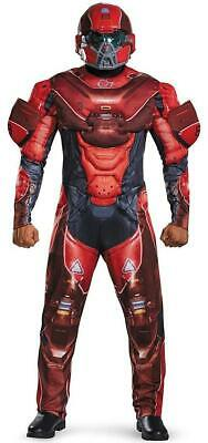 Red Spartan Muscle Halo Military Soldier Fancy Dress Up Halloween Adult - Halo Red Spartan Kostüm