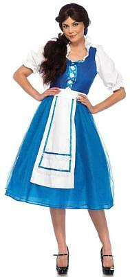 Village Beauty Beast Belle Blue Princess Fancy Dress Up Halloween Adult Costume