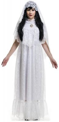 Halloween White Ghost Costume (Vintage Bride White Ghost Day Dead Dia Muertos Fancy Dress Up Halloween)