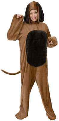 ADULT MENS WOMENS BIG BROWN DOG COSTUME PUPPY CANINE FARM ANIMAL PET JUMPSUIT  - Men Animal Costumes
