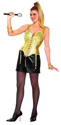 Pop Star 80's Madonna Rock Cone Bra Fancy Dress Up Halloween Sexy Adult Costume