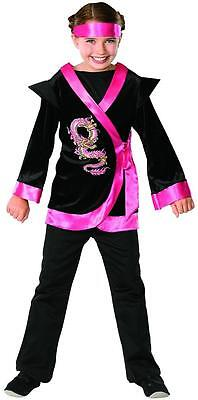 Pink Dragon Ninja Warrior Girl Asian Fancy Dress Up Halloween Child Costume (Pink Dragon Costume)