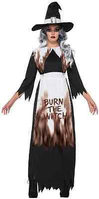 Burn Evil Wicked Trials Fancy Dress Halloween Adult Costume (Salem Witch Trial Halloween)