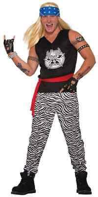 Rock Star 80's Retro Axl Hair Band Poison Fancy Dress Up Halloween Adult Costume
