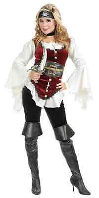 Pirate Lady Blouse White Shirt Caribbean Fancy Dress Halloween Costume Accessory ()