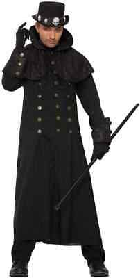 Warlock Coat Gothic Vampire Trench Fancy Dress Halloween Adult Costume Accessory - Mens Warlock Costume
