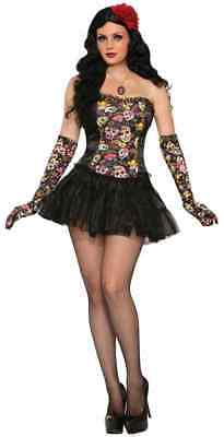 Day of the Dead Corset Dia Muertos Skull Fancy Dress Halloween Costume Accessory