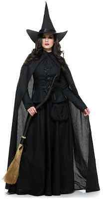 Wicked Witch Classic Black Gothic Fancy Dress Up Halloween Deluxe Adult Costume