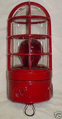 GAMEWELL FIRE ALARM BOX RED CAGED LIGHT FIXTURE