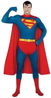Superman 2nd Skin Bodysuit Cape Superhero Fancy Dress Up Halloween Adult - Superman 2nd Skin Kostüm