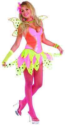 Rave Pixie Fairy Princess Pink Dance Party Fancy Dress Halloween Adult Costume