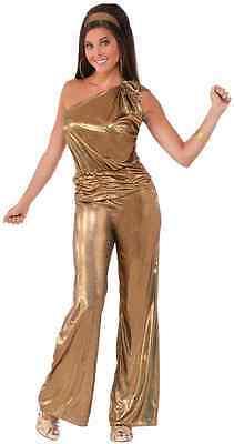 Solid Gold Lady 70's Disco Fever Dancer Fancy Dress Up Halloween Adult Costume
