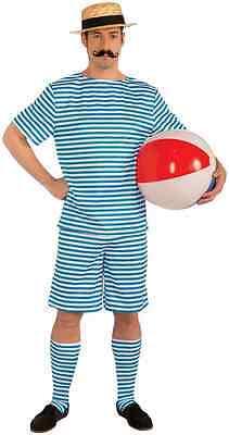 Beachside Clyde Roaring 20's Swimsuit Striped Retro Man Halloween Adult Costume