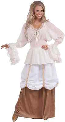 Medieval Blouse Pirate Gypsy Renaissance White Halloween Adult Costume Accessory
