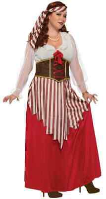 Ladies Halloween Fancy Dress Plus Sizes (Pirate Wench Caribbean Lady Fancy Dress Up Halloween Plus Size Adult)