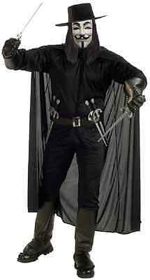 V for Vendetta Anonymous Guy Fawkes Fancy Dress Up Halloween Adult Costume (Black Guys Halloween Costumes)