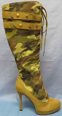 Sergeant Boots Camo Army Military Fancy Dress Halloween Adult Costume Accessory