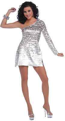 Disco Honey 70's Retro Dancer Fever Silver Fancy Dress Halloween Adult Costume ()