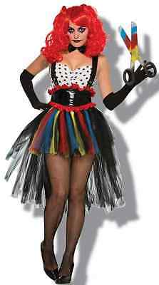Girlie Clown Evil Circus Carnival Scary Fancy Dress Up Halloween Adult Costume